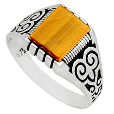 4.02cts natural brown tiger's eye 925 sterling silver mens ring size 11 c10028