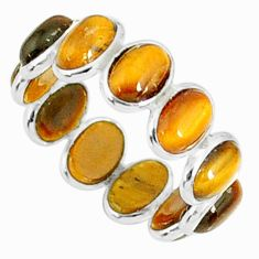 7.34cts natural brown tiger's eye 925 sterling silver ring jewelry size 6 r88455