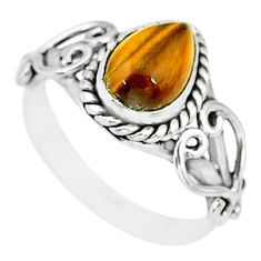 2.41cts natural brown tiger's eye 925 sterling silver ring jewelry size 6 r90044
