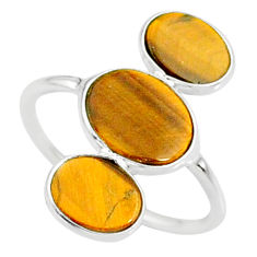 7.64cts natural brown tiger's eye 925 sterling silver ring jewelry size 7 r88097
