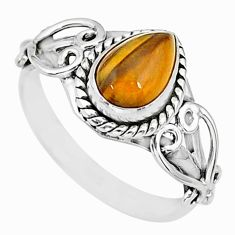 2.30cts natural brown tiger's eye 925 sterling silver ring jewelry size 7 r90047