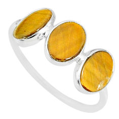 5.28cts natural brown tiger's eye 925 sterling silver ring jewelry size 8 r87941