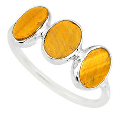 6.42cts natural brown tiger's eye 925 sterling silver ring jewelry size 8 r87959