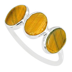 5.95cts natural brown tiger's eye 925 sterling silver ring jewelry size 8 r88056