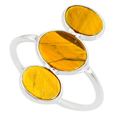 7.75cts natural brown tiger's eye 925 sterling silver ring jewelry size 8 r88098
