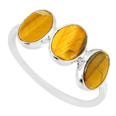 5.36cts natural brown tiger's eye 925 sterling silver ring size 7.5 r87942