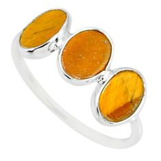5.88cts natural brown tiger's eye 925 sterling silver ring size 7.5 r87960