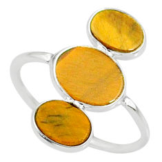 7.80cts natural brown tiger's eye 925 sterling silver ring size 8.5 r88085