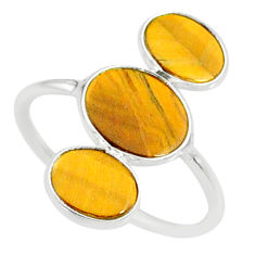 7.80cts natural brown tiger's eye 925 sterling silver ring size 8.5 r88088