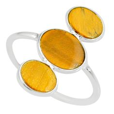 7.75cts natural brown tiger's eye 925 sterling silver ring size 9.5 r88089