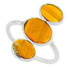 6.67cts natural brown tiger's eye 925 sterling silver ring size 7.5 r88091
