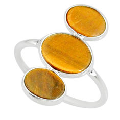 6.70cts natural brown tiger's eye 925 sterling silver ring size 7.5 r88092