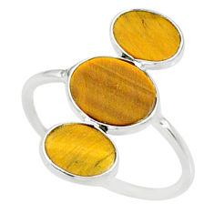 7.26cts natural brown tiger's eye 925 sterling silver ring size 8.5 r88093