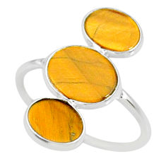 7.26cts natural brown tiger's eye 925 sterling silver ring size 7.5 r88095