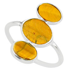 7.75cts natural brown tiger's eye 925 sterling silver ring size 8.5 r88099