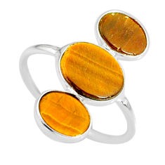 6.02cts natural brown tiger's eye 925 sterling silver ring size 7.5 r88160