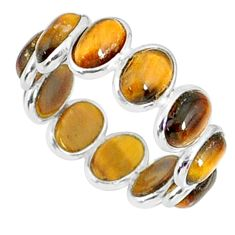 6.76cts natural brown tiger's eye 925 sterling silver ring size 5.5 r88375