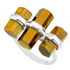 11.93cts natural brown tiger's eye fancy 925 silver solitaire ring size 7 t36129