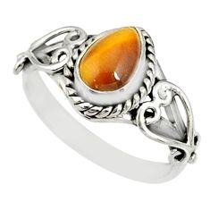 1.94cts natural brown tiger's eye pear 925 silver solitaire ring size 7 r82477