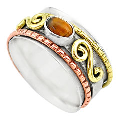 1.00cts natural brown tiger's eye silver two tone spinner ring size 10.5 t12643