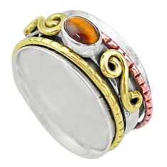 1.25cts natural brown tiger's eye silver two tone spinner ring size 8.5 t12656