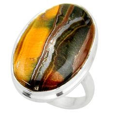 22.05cts natural brown tiger's hawks eye 925 silver solitaire ring size 8 d47462