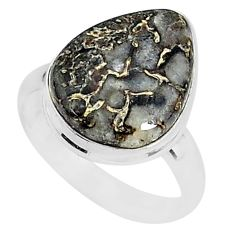 7.60cts natural brown turkish stick agate silver solitaire ring size 7 r95587