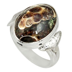 9.54cts natural brown turritella fossil snail agate silver ring size 7 r19662