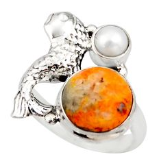 6.57cts natural bumble bee australian jasper 925 silver fish ring size 8 d46117