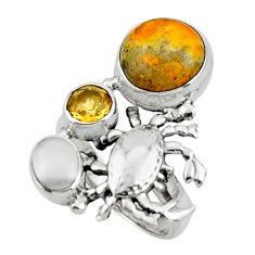 7.73cts natural bumble bee australian jasper 925 silver ring size 7 r44698