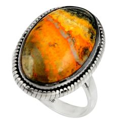Natural bumble bee australian jasper 925 silver solitaire ring size 9.5 r28341