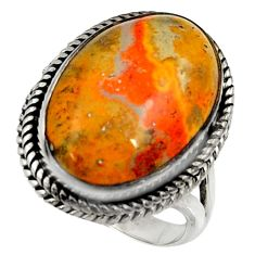 Natural bumble bee australian jasper 925 silver solitaire ring size 8.5 r28342