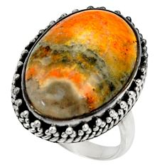 Natural bumble bee australian jasper 925 silver solitaire ring size 7.5 r28346