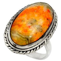 Natural bumble bee australian jasper 925 silver solitaire ring size 8.5 r28349