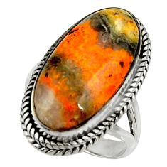 Natural bumble bee australian jasper 925 silver solitaire ring size 7.5 r28352