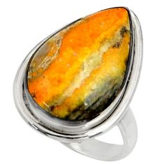 Natural bumble bee australian jasper 925 silver solitaire ring size 9.5 r28353