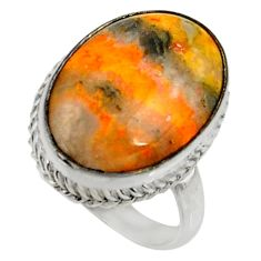 Natural bumble bee australian jasper 925 silver solitaire ring size 8.5 r28355
