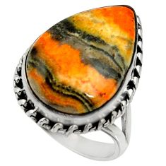 Natural bumble bee australian jasper 925 silver solitaire ring size 8.5 r28357