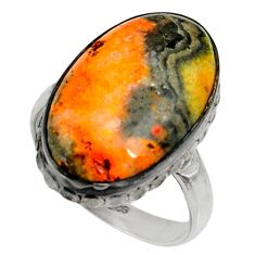 Natural bumble bee australian jasper 925 silver solitaire ring size 8.5 r28365