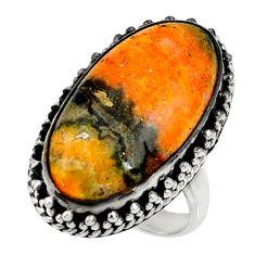 Natural bumble bee australian jasper 925 silver solitaire ring size 6.5 r28367