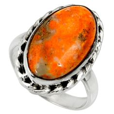 Natural bumble bee australian jasper 925 silver solitaire ring size 7.5 r28375