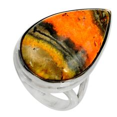 Natural bumble bee australian jasper 925 silver solitaire ring size 6 r28369