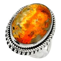 Natural bumble bee australian jasper 925 silver solitaire ring size 7 r28377