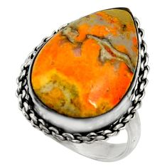 Natural bumble bee australian jasper 925 silver solitaire ring size 8 r28356