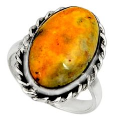 Natural bumble bee australian jasper 925 silver solitaire ring size 8 r28370