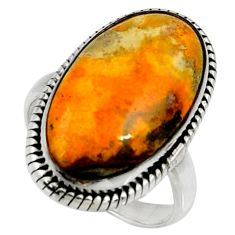 Natural bumble bee australian jasper 925 silver solitaire ring size 8 r28373