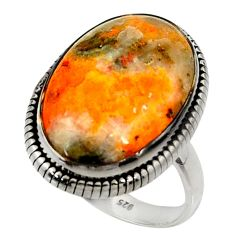 Natural bumble bee australian jasper 925 silver solitaire ring size 9 r28347