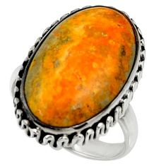 Natural bumble bee australian jasper 925 silver solitaire ring size 9 r28363