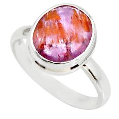 5.23cts cacoxenite super seven silver faceted ring size 8.5 r34086