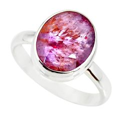5.06cts cacoxenite super seven silver faceted ring size 8.5 r34098